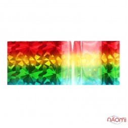 Фольга для нігтів перебивна, для лиття, кольорова веселка, бите скло L = 1 м, ширина 4 см