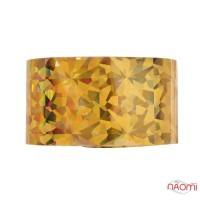 Фольга для нігтів перебивна, для лиття, gold, бите скло L = 1 м, ширина 4 см