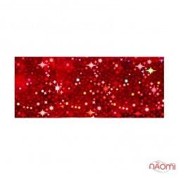 Фольга для ногтей переводная, для литья, красная, звезды  L= 1 м ширина 4 см