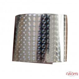 Фольга для ногтей переводная, для литья, silver, круги L= 1 м, ширина 4 см