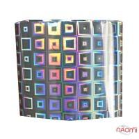 Фольга для ногтей переводная, для литья, silver, квадраты L= 1 м, ширина 4 см