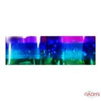 Фольга для ногтей переводная, для литья, сине-фиолетовая радуга, битое стекло L= 1 м, ширина 4 см