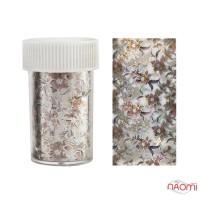 Фольга переводная, голографическая в банке, цветы, цвет серебро, 120х4,5 см