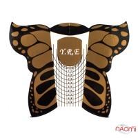 Формы для наращивания ногтей YRE Бабочка, черные, 20 шт.
