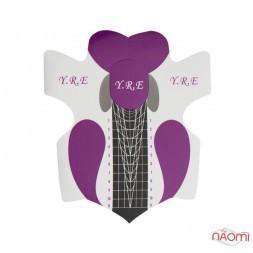 Формы для наращивания ногтей YRE Узор, фиолетовые, 20 шт.
