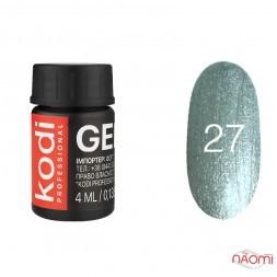 Гель-краска Kodi Professional 27, цвет серебряный с переливающимися шимерами, 4 мл