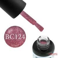 Гель-лак Boho Chic BC 124 виноградно-розовый с яркими переливающимися блестками, 6 мл