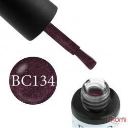 Гель-лак Boho Chic BC 134 лилово-баклажанный с розовыми блестками, 6 мл