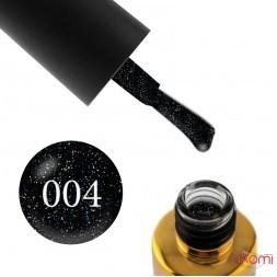Гель-лак F.O.X Diamond 004 чорний з кольоровими переливаючими дрібними блискітками, 6 мл