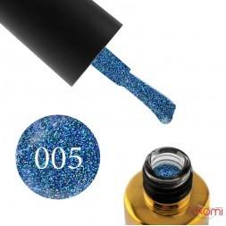 Гель-лак F.O.X Diamond 005 сине-сиреневый с плотными зелеными и синими блестками, 6 мл