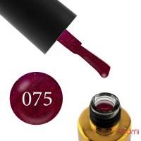 Гель-лак F.O.X Pigment 075 малиново-вишневый, с красными блестками, плотный, 6 мл