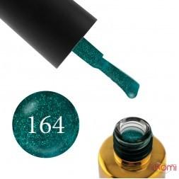 Гель-лак F.O.X Pigment 164 зеленый изумруд с мелкими блестками, 6 мл