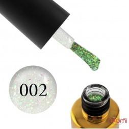 Гель-лак F.O.X Yuki Flakes 002, золотисто-салатово-зеленая слюда на прозрачной основе, 6 мл