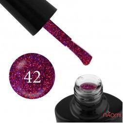 Гель-лак G.La color NEW 042 фиолетовый, с красно-малиновыми блестками, 10 мл