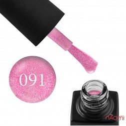 Гель-лак GO 091 розовый с серебристыми блестками, 5,8 мл