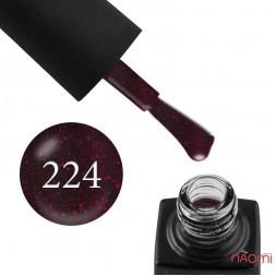 Гель-лак GO 224 бордовый, красными блестками, плотный, 5,8 мл