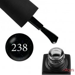 Гель-лак GO 238 серо-черный с сине-бирюзовыми блестками, 5,8 мл