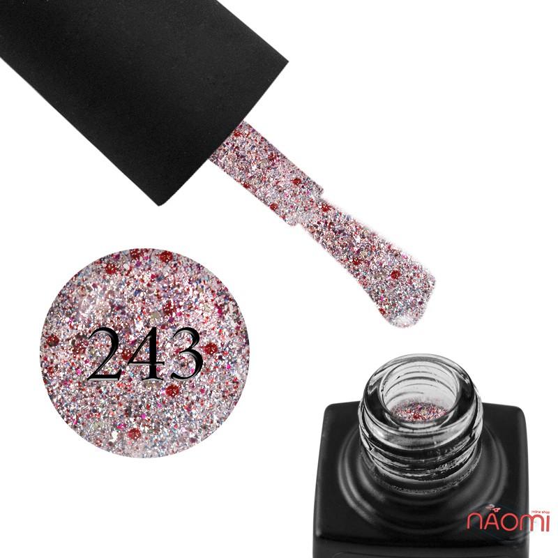 Гель-лак GO 243 розовое серебро, с красным и серебристым конфетти, 5,8 мл, фото 1, 65.00 грн.