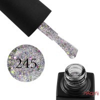 Гель-лак GO 245 серебро, с лаймовым и фиолетовым конфетти, 5,8 мл