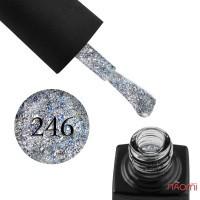 Гель-лак GO 246 серебро, с синим конфетти, переливающимися блестками и слюдой, 5,8 мл