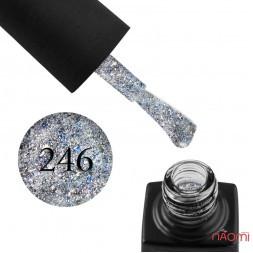 Гель-лак GO 246 срібло, з синім конфетті, 5,8 мл