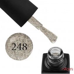 Гель-лак GO 248 біле золото, з голографічними блискітками, слюдою і шимерами, 5,8 мл