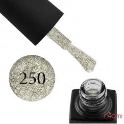 Гель-лак GO 250 платиново-серебристый, с шиммерами, блестками и слюдой, 5,8 мл