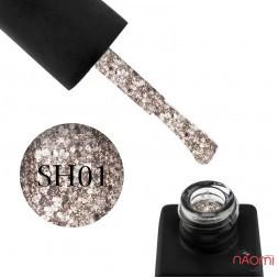 Гель-лак Kodi Professional Shine SH 001 щільні рожево-золотисті блискітки і конфетті, 8 мл