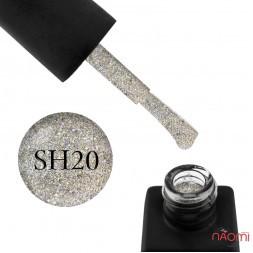 Гель-лак Kodi Professional Shine SH 020 щільні світло-золотисті блискітки, 8 мл