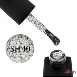 Гель-лак Kodi Professional Shine SH 040 серебристые блестки и конфетти на прозрачной основе, 8 мл