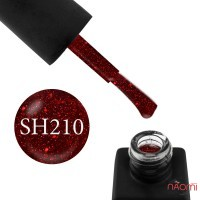 Гель-лак Kodi Professional Shine SH 210 вишнево-красный, с блестками, шиммерами и конфетти, 8 мл