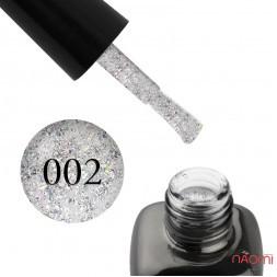 Гель-лак LEO Platinum 002 срібло зі слюдою і голографічним конфетті, 9 мл