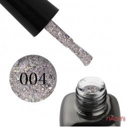 Гель-лак LEO Platinum 004 графіт, зі сріблястою слюдою і голографічним конфетті, 9 мл