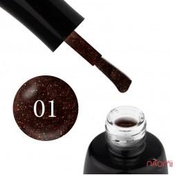 Гель-лак LUXTON 001 black з червоними блискітками, 10 мл