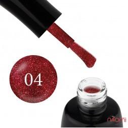 Гель-лак LUXTON 004 малиново-червоний з блискітками, 10 мл