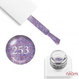 Гель-лак мармуровий Trendy Nails № 253 молочний, з червоно-синім флоком, 8 мл