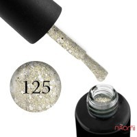 Гель-лак Naomi 125 Small Foil Silver салатово-золотий зі срібними блискітками, 6 мл