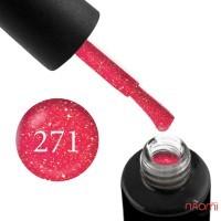 Гель-лак Naomi 271 Art Deco Pink неоновый коралловый с глиттером, 6 мл