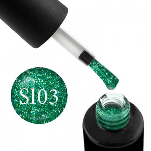 Гель-лак Naomi Self Illuminated SI 03 зелений з блискітками і слюдою, 6 мл, фото 1, 95.00 грн.
