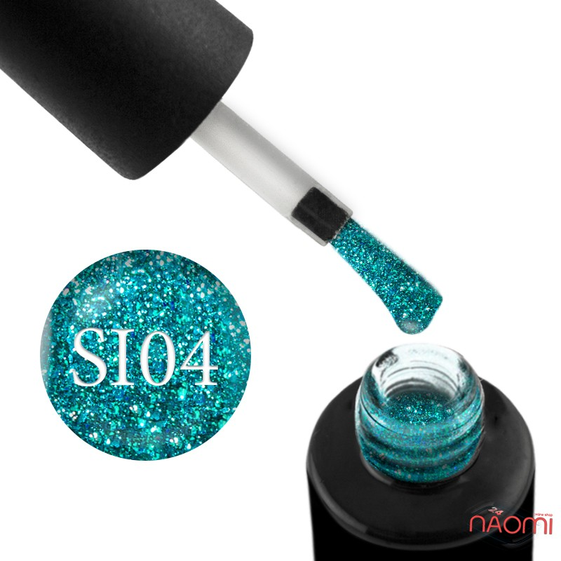 Гель-лак Naomi Self Illuminated SI 04 бирюзовый с блестками и слюдой, 6 мл, фото 1, 95.00 грн.