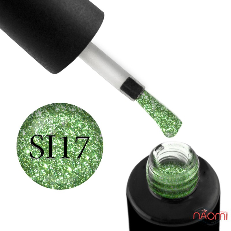 Гель-лак Naomi Self Illuminated SI 17 салатовый, с блестками и слюдой, 6 мл, фото 1, 95.00 грн.