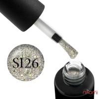 Гель-лак Naomi Self Illuminated SI 26, салатовое серебро с блестками и слюдой, 6 мл