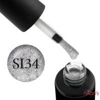 Гель-лак Naomi Self Illuminated SI 34, серебро с блестками, фольгой-стружкой и конфетти, 6 мл