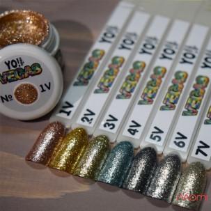 Глітерний гель-лак Yo nails Vegas V 1 рожеве золото, блискітки, 5 мл