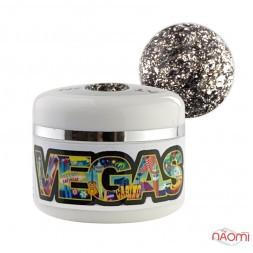 Глиттерный гель-лак Yo nails Vegas V 6, серебро, блестки, 5 мл