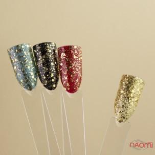 Глиттерный гель-лак Yo nails Zirka Gold, золотые блестки и конфетти, 5 мл