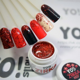 Глітерний гель-лак Yo nails Zirka Red червоні блискітки і конфетті, 5 мл