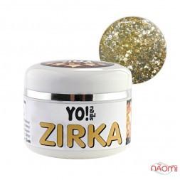 Глиттерный гель-лак Yo nails Zirka Solar, олотисто-серебристые блестки и конфетти, 5 мл