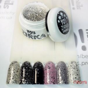Глітерний гель-лак Yo nails Zirka Sparkle сріблясті блискітки і конфетті, 5 мл