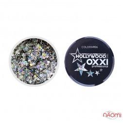 Глиттерный гель в баночке OXXI Hollywood 06 серебро с голографическим эффектом, 5 г